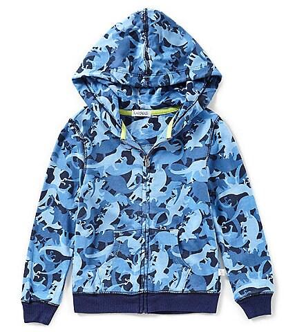 Flapdoodles Little Boys 2T-7 Dinosaur/Camouflage-Printed Hoodie