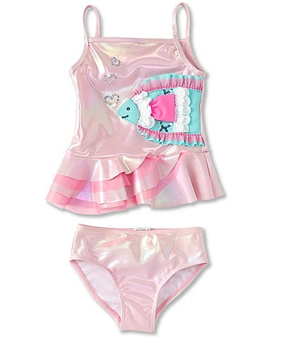Flapdoodles Little Girls 2T-6X Fish-Graphic Ruffled Tankini & Hipster Two-Piece Swimsuit