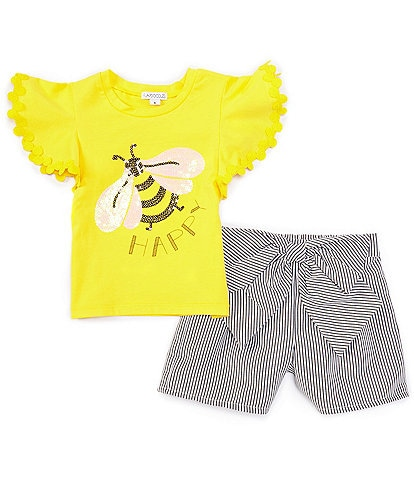 Flapdoodles Little Girls 2T-6X Flutter-Sleeve Bee Tee & Bow-Accented Striped Shorts Set