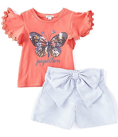 Flapdoodles Little Girls 2T-6X Flutter-Sleeve Butterfly Tee & Bow-Accented Striped Short Set