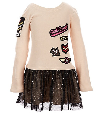 Flapdoodles Little Girls 2T-6X Long-Sleeve Patches Bodice With Glitter Mesh Skirt Dress