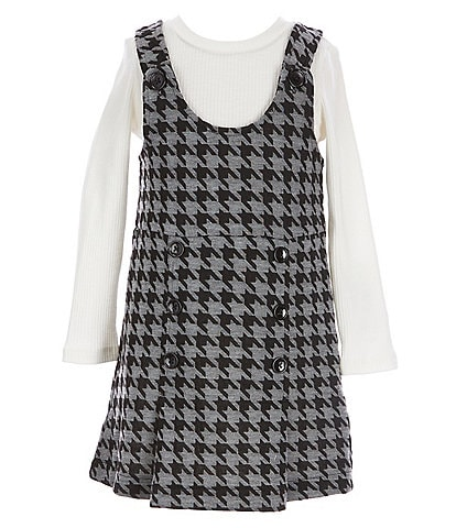 Flapdoodles Little Girls 2T-6X Long Sleeve Ribbed Tee & Sleeveless Double Knit Jumper 2-Piece Set