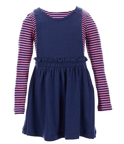 Flapdoodles Little Girls 2T-6X Long-Sleeve Striped Rib Knit Top & Solid Jumper Dress
