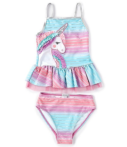 Flapdoodles Little Girls 2T-6X Ombre Unicorn Two-Piece Swimsuit Set