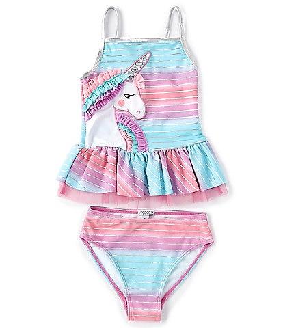 Flapdoodles Little Girls 2T-6X Ombre Unicorn Two-Piece Swimsuit Set