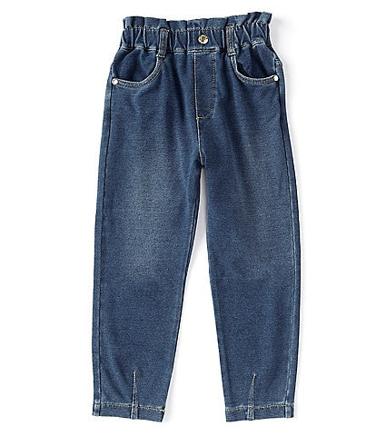 Flapdoodles Little Girls 2T-6X Paperbag-Waist Denim-Knit Pants