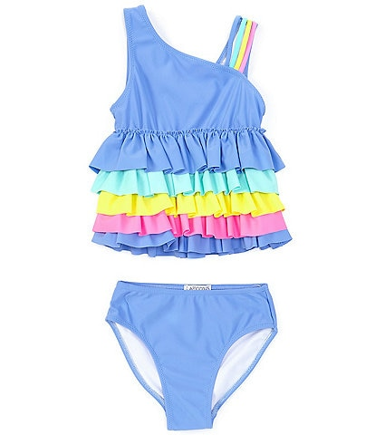 Flapdoodles Little Girls 2T-6X Rainbow Ruffle Two-Piece Swimsuit