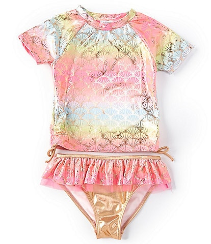 Flapdoodles Little Girls 2T-6X Rainbow Shell Rashguard Two-Piece Swimsuit