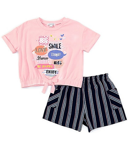 Flapdoodles Little Girls 2T-6X Short-Sleeve Glitter Graphic Tee & Striped Shorts Set