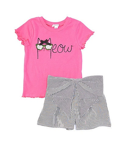 Flapdoodles Little Girls 2T-6X Short-Sleeve Kitty Lettuce-Trim Tee & Striped Shorts Set