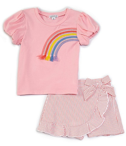 Flapdoodles Little Girls 2T-6X Short-Sleeve Rainbow Graphic Tee & Stripe Skort Set