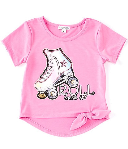 Flapdoodles Little Girls 2T-6X Short-Sleeve Sequin-Embellished Tie-Dye Roller Skate Tee