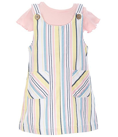 Flapdoodles Little Girls 2T-6X Short-Sleeve Tee & Rainbow Twill Jumper Set