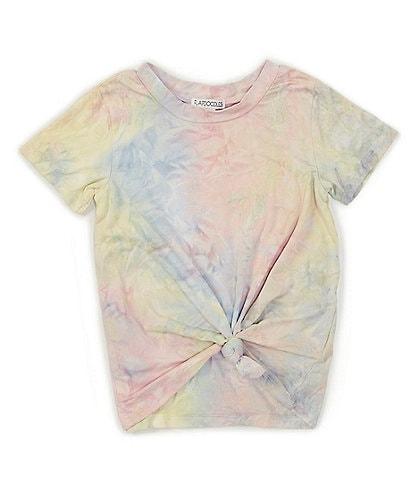 Flapdoodles Little Girls 2T-6X Short-Sleeve Tie-Dye Knot-Front Tee