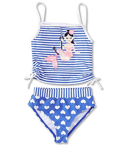Flapdoodles Little Girls 2T-6X Striped Mermaid Tankini Top & Heart-Printed Hipster Bottom Two-Piece Swimsuit