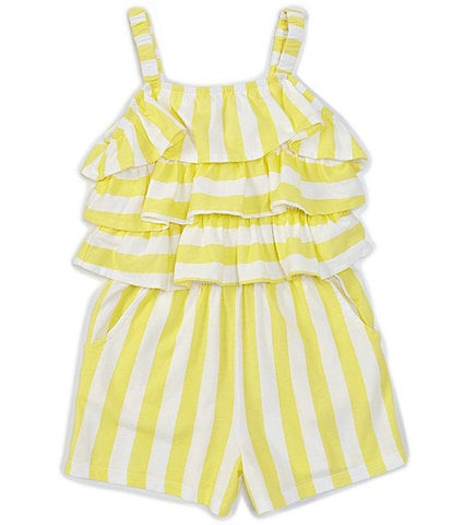 Flapdoodles Little Girls 2T-6X Tiered-Ruffles Stripe Popover Romper