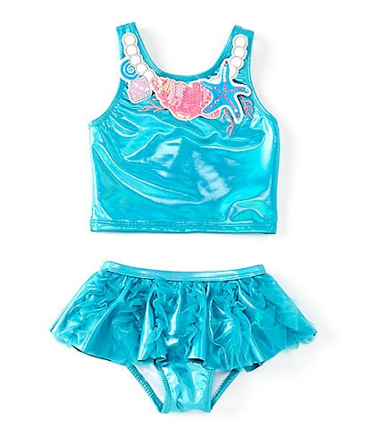 Flapdoodles Little Girls 2T-6X Under The Sea Necklace Tankini & Skirted Bottom Two-Piece Swimsuit