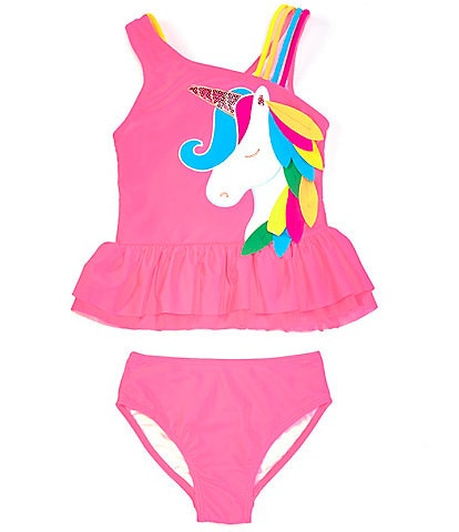 Flapdoodles Little Girls 2T-6X Unicorn Applique Skirted One-Piece Swimsuit