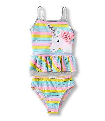 Flapdoodles Little Girls 2T-6X Unicorn Tankini Top & Hipster Bottom Two-Piece Swimsuit
