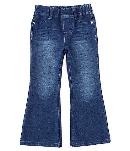Flapdoodles Little Girls 4-6X Elastic-Waist Knit Flared Denim Jeans