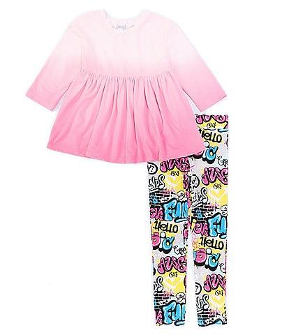Flapdoodles Little Girls 4-6X Short-Sleeve Dip-Dye Babydoll Top & Graffiti Print Legging Set