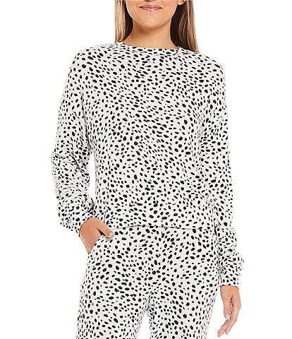 Fornia Coordinating Dalmatian Print Lounge Long Sleeve Pullover
