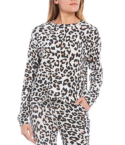 Fornia Coordinating Leopard Lounge Long Sleeve Pullover