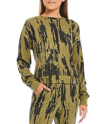Fornia Coordinating Tie Dye Print Lounge Long Sleeve Pullover