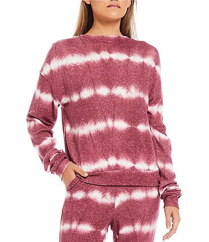 Fornia Coordinating Wave Tie Dye Print Lounge Long Sleeve Pullover