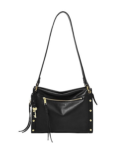 Fossil Allie Studded Leather Zip Satchel Bag