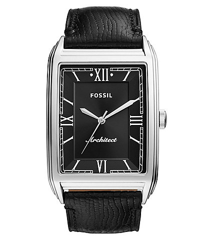 Fossil ARC-03 Three-Hand Black Lizard Leather Watch