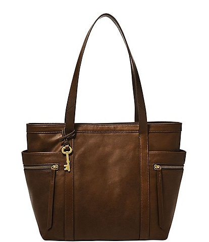 Fossil Caitlyn Leather Zip Top Tote Bag
