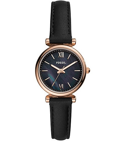 Fossil Carlie Mini Three-Hand Gold Tone Stainless Steel Black Leather Watch