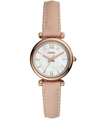 Fossil Carlie Mini Three-Hand Blush Leather Watch