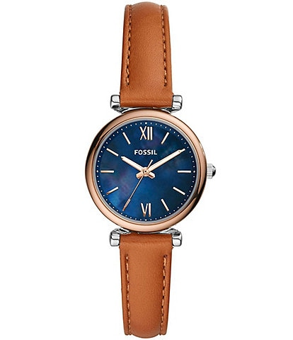 Fossil Carlie Mini Three-Hand Tan Leather Watch