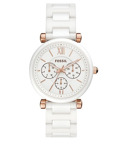 Fossil Carlie Multifunction White Ceramic Watch