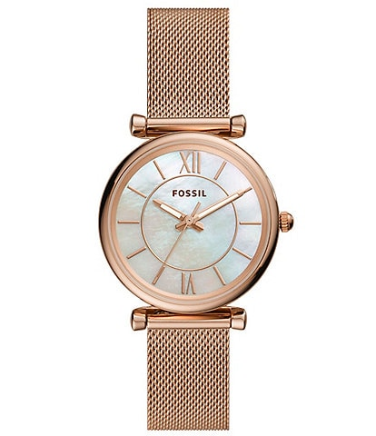 Fossil Carlie Three-Hand Rose Gold-Tone MOP Dial Mesh Bracelet Watch