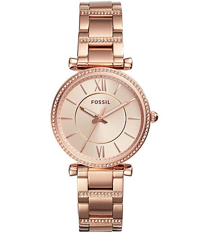 Fossil Carlie Three-Hand Rose Gold-Tone Stainless Steel Bracelet Watch