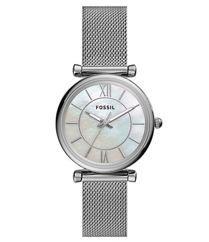 Fossil Carlie Three-Hand Stainless Steel Mesh Bracelet Watch