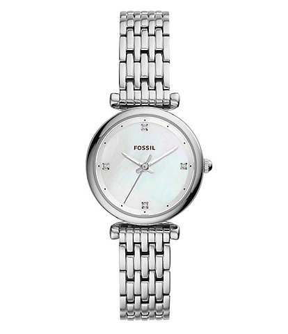 Fossil Carlie Three-Hand Mother-Of-Pearl Stainless Steel Watch
