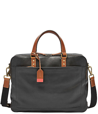 Fossil Defender Leather Double Zip Laptop Workbag