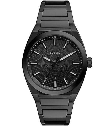 Fossil Everett Three-Hand Date Black Stainless Steel Watch
