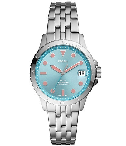 Fossil FB-01 Three-Hand Date Blue Dial Stainless Steel Watch