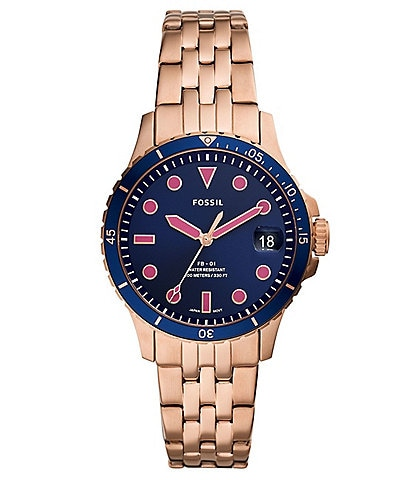 Fossil FB-01 Three-Hand Date Rose Gold-Tone Stainless Steel Watch