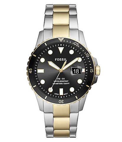 Fossil FB-01 Three-Hand Date Two Tone Stainless Steel Watch