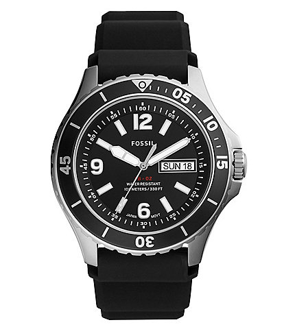 Fossil FB-02 Three-Hand Date Black Silicone Watch
