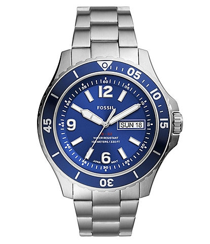 Fossil FB-02 Three-Hand Date Blue Dial Stainless Steel Watch