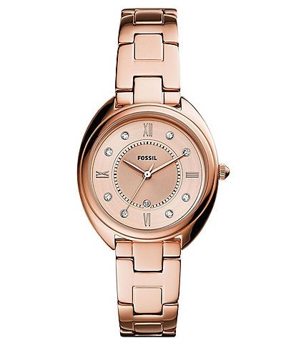 Fossil Gabby Three-Hand Date Rose Gold-Tone Stainless Steel Bracelet Watch