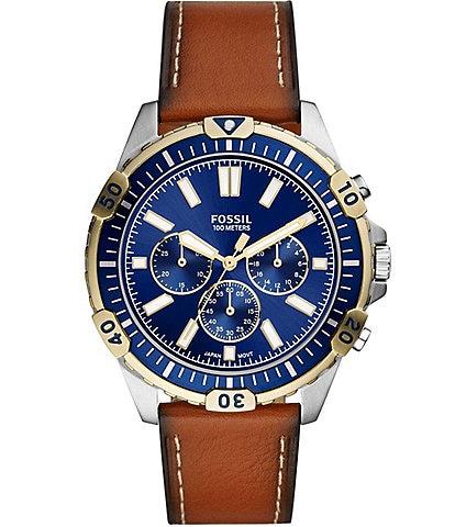 Fossil Garrett Chronograph Luggage Leather Strap Watch