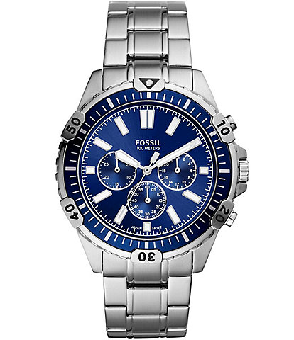 Fossil Garrett Chronograph Silver-Tone Stainless Steel Blue Dial Watch